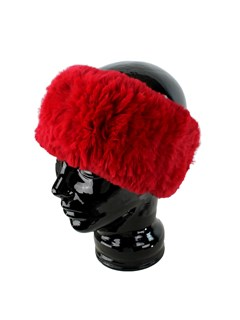 Woman's Red Knit Rex Rabbit Fur Stretch Headband
