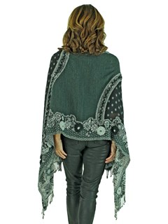 Woman's Black and Grey Woven Wool Shawl with Fox Trim