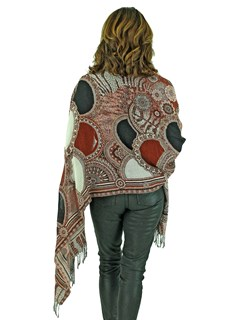 Woman's Rust Woven Wool Shawl with Matching Fox Trim