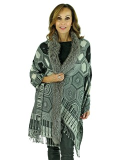 Woman's Grey and Black Woven Wool Shawl with Fox Trim