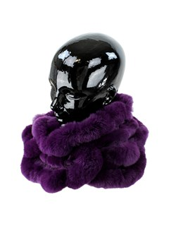 Woman's Purple Rex Rabbit Fur Ruffled Infinity Scarf