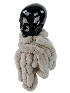Woman's Taupe Rex Rabbit Fur Ruffled Scarf