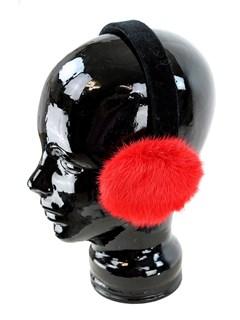 Woman's Red Mink Fur Earmuffs