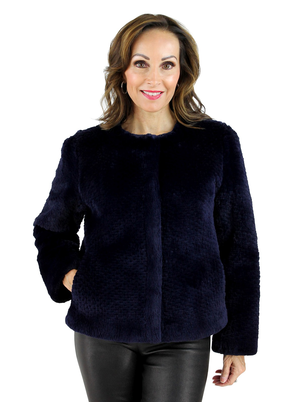 Gorski Woman's Navy Punched Sheared Beaver Fur Jacket