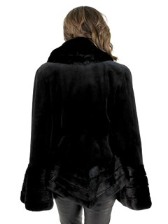 Black Paisley Sheared Mink Jacket