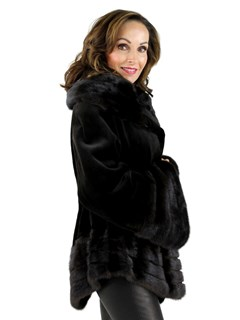 Gorski Woman's Dark Brown Sheared Mink Fur Jacket