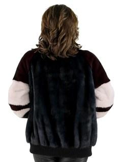 Ocean Blue Maroon Mink Fur Jacket
