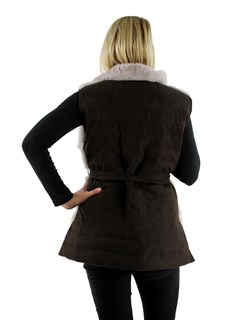 Gorski Woman's Blush Mink Fur Vest with Brown Quilted Cashmere Back