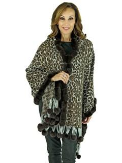 Gorski Woman's Brown Animal Print Cashmere Wool Stole with Rex Rabbit Trim