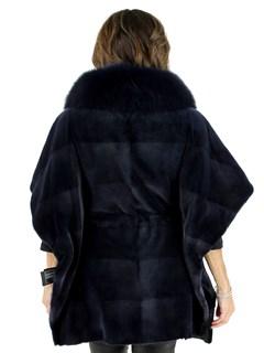 Denim Blue Sheared Mink Cape with Fox Collar