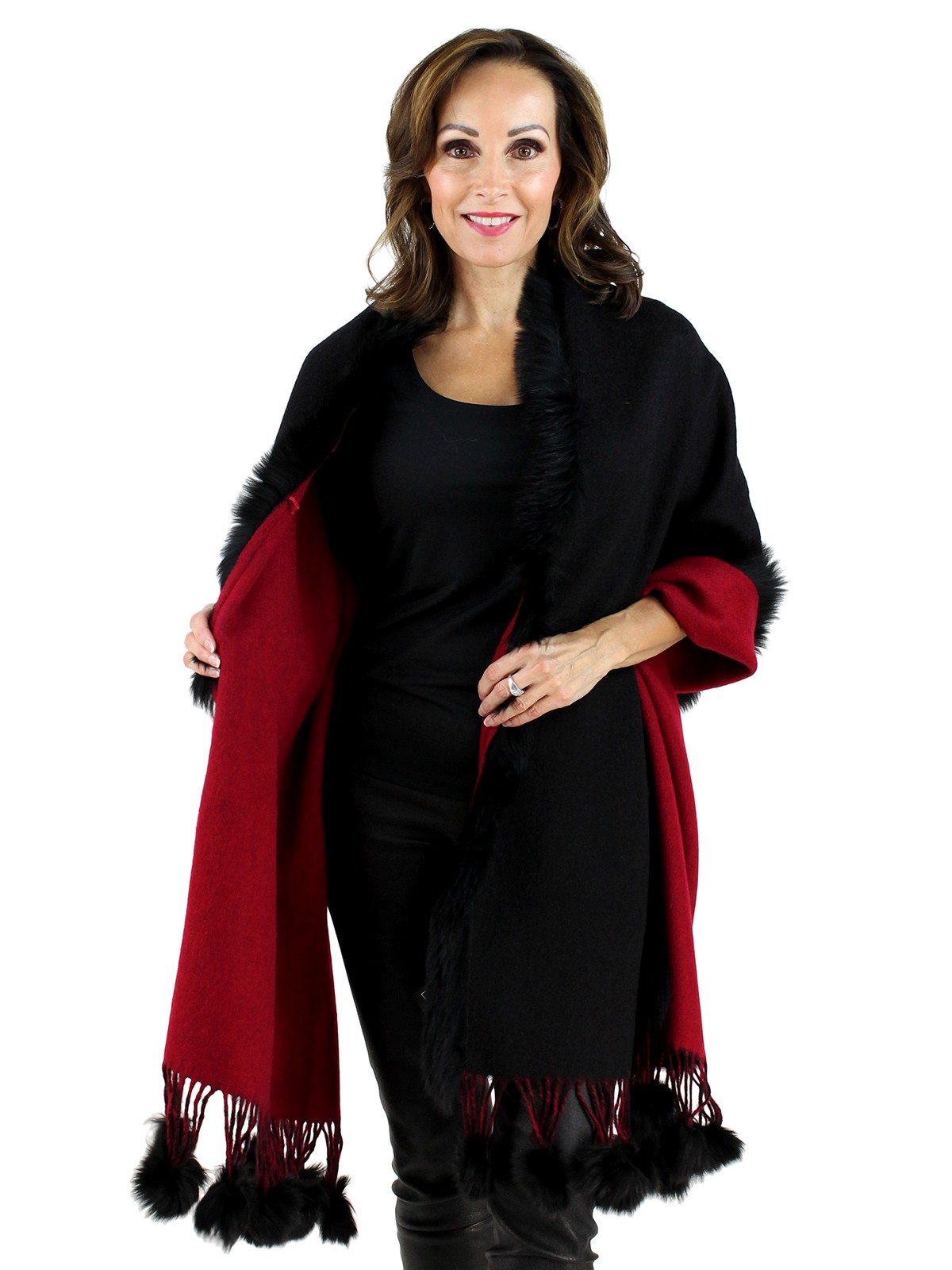 Gorski Black and Red Cashmere Fox Fur Shawl