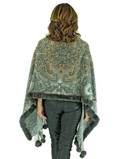 Gorski Woman's Grey Paisley Cashmere Wool Stole with Rex Rabbit Trim