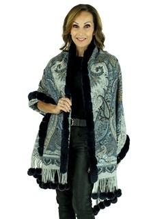 Gorski Woman's Navy Paisley Cashmere Wool Stole with Rex Rabbit Trim