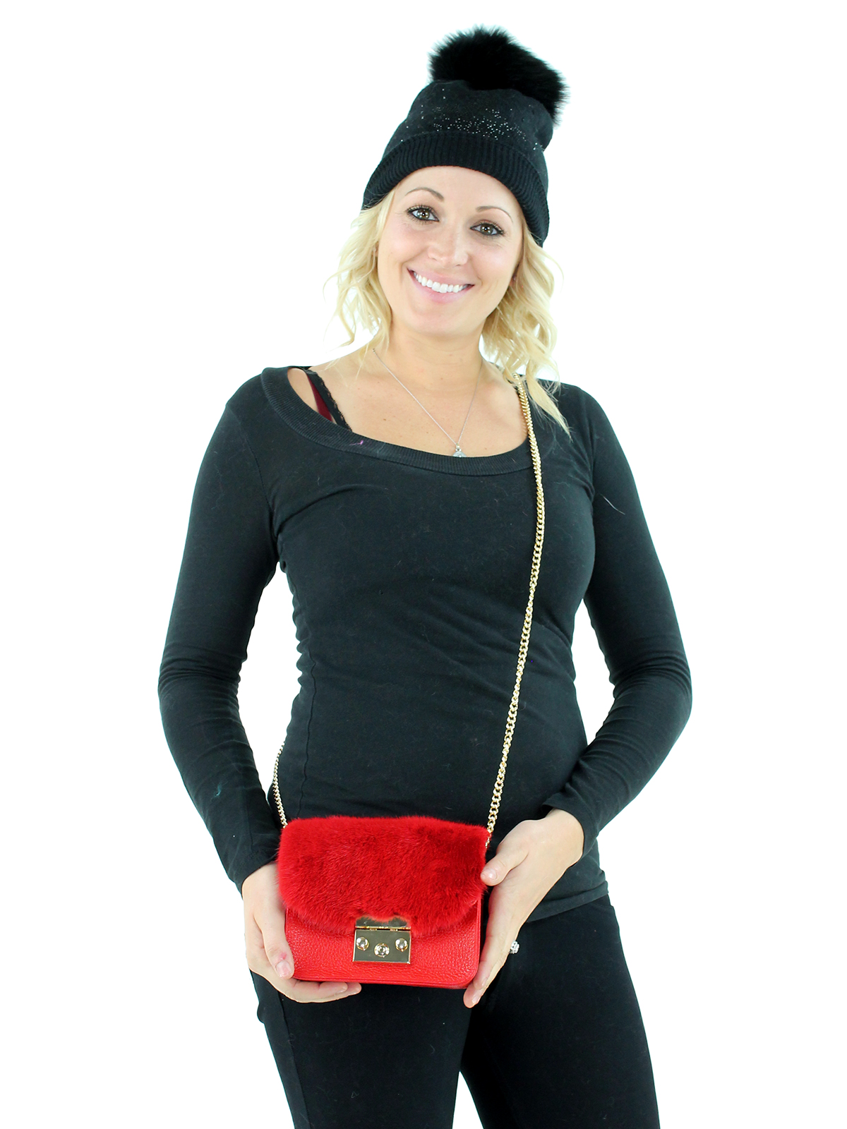 Red Leather and Red Mink Small Cross the Body Handbag