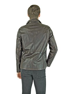 Man's Brown Leather Blazer Style Jacket
