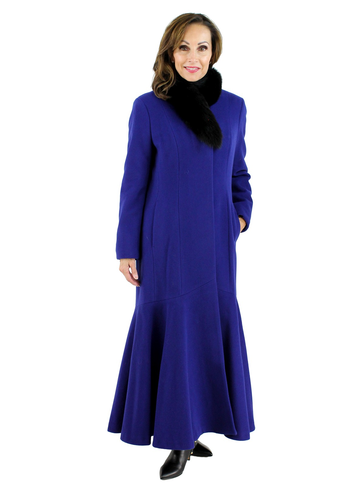 Woman's Blue and Black Cashmere and Wool Coat