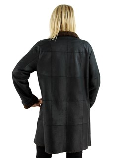 Woman's Black and Cognac Shearling Lamb Jacket
