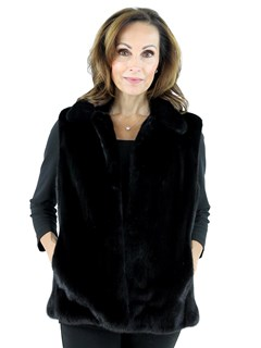 Woman's Black Mink Fur Vest