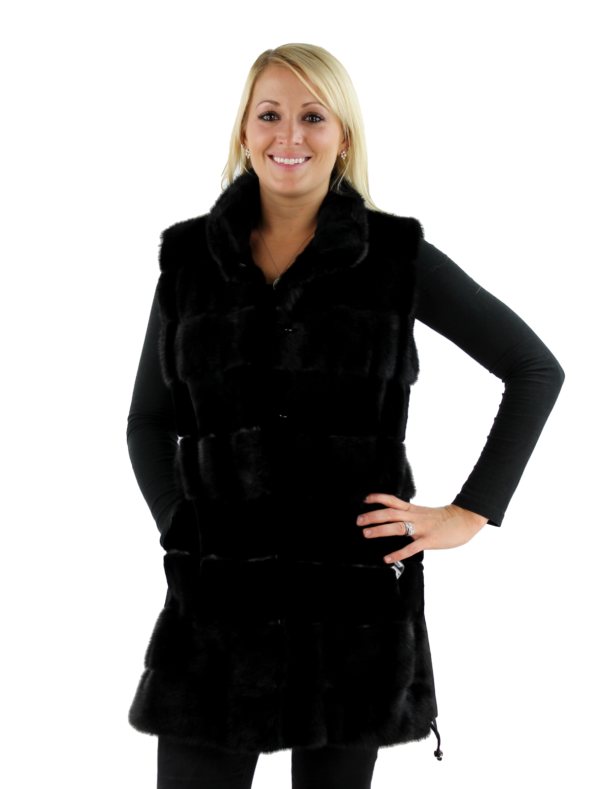 Woman's Black Sheared Mink Vest with Cashmere Back