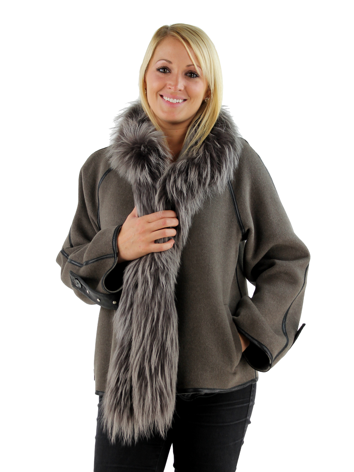 Woman's Taupe Cashmere Wool Jacket with Raccoon Trim