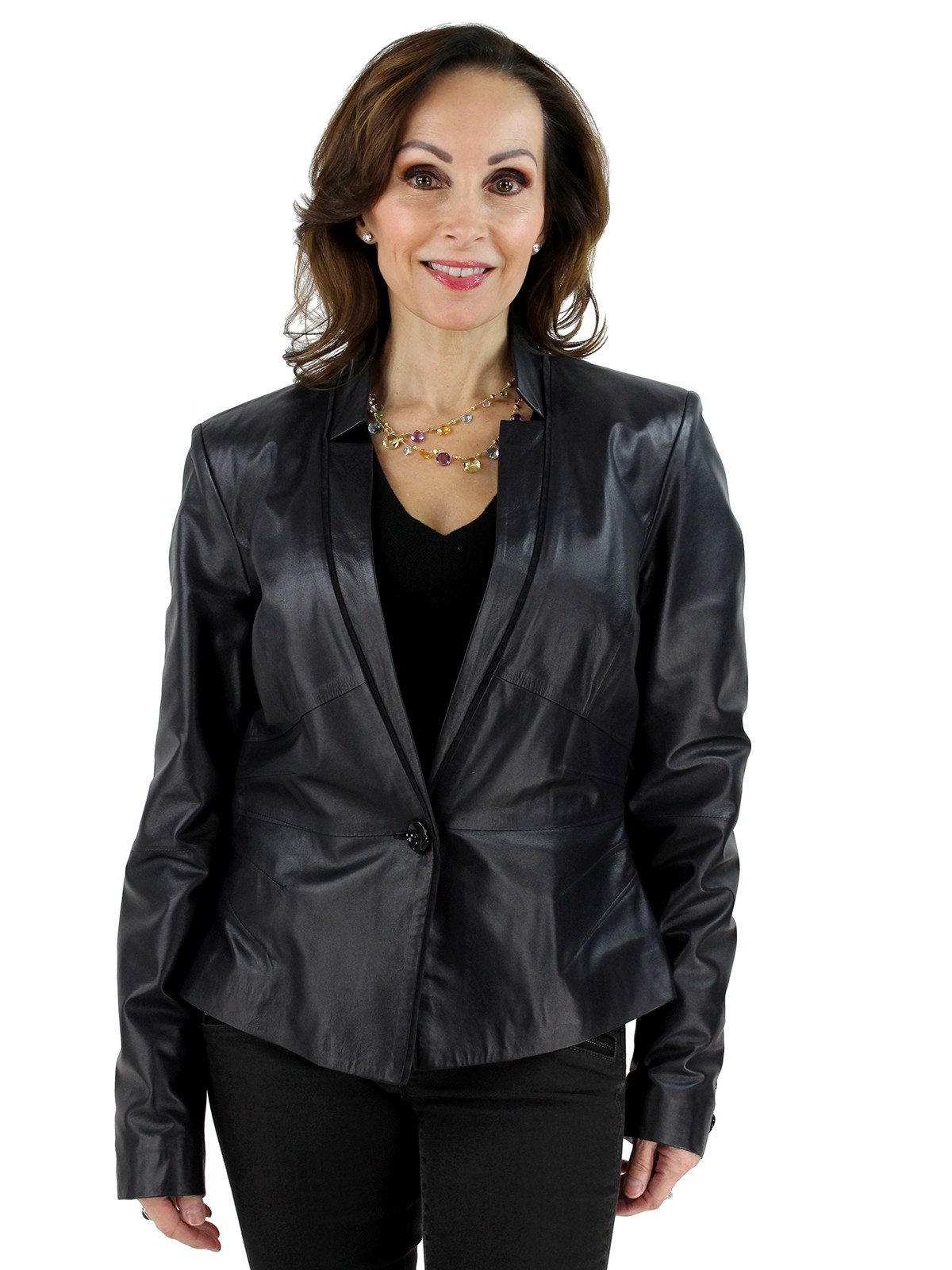 Woman's Navy Leather Jacket