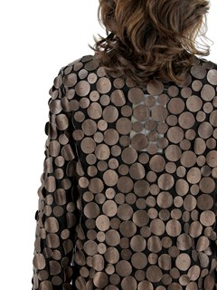 Woman's Bronze Leather and Black Mesh Jacket
