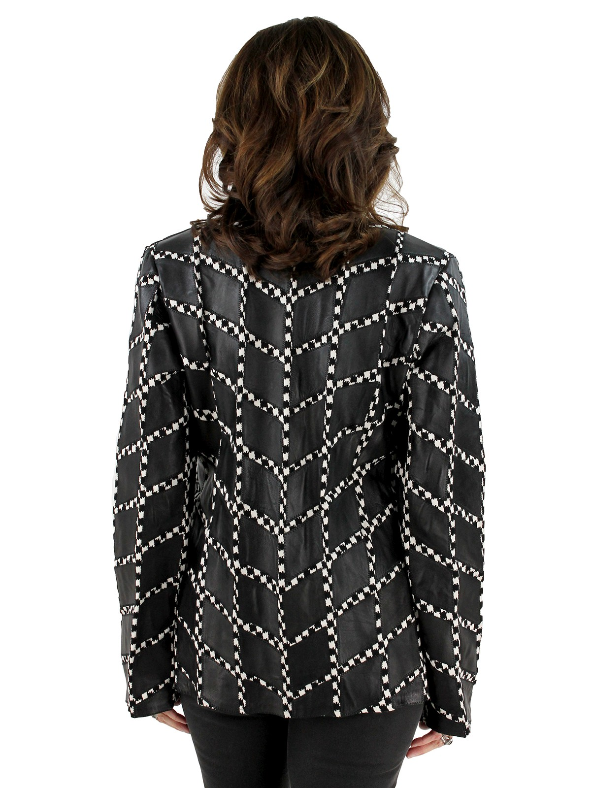 Houndstooth Leather Pattern Jacket
