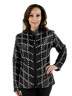 Woman's Houndstooth Pattern Leather Jacket