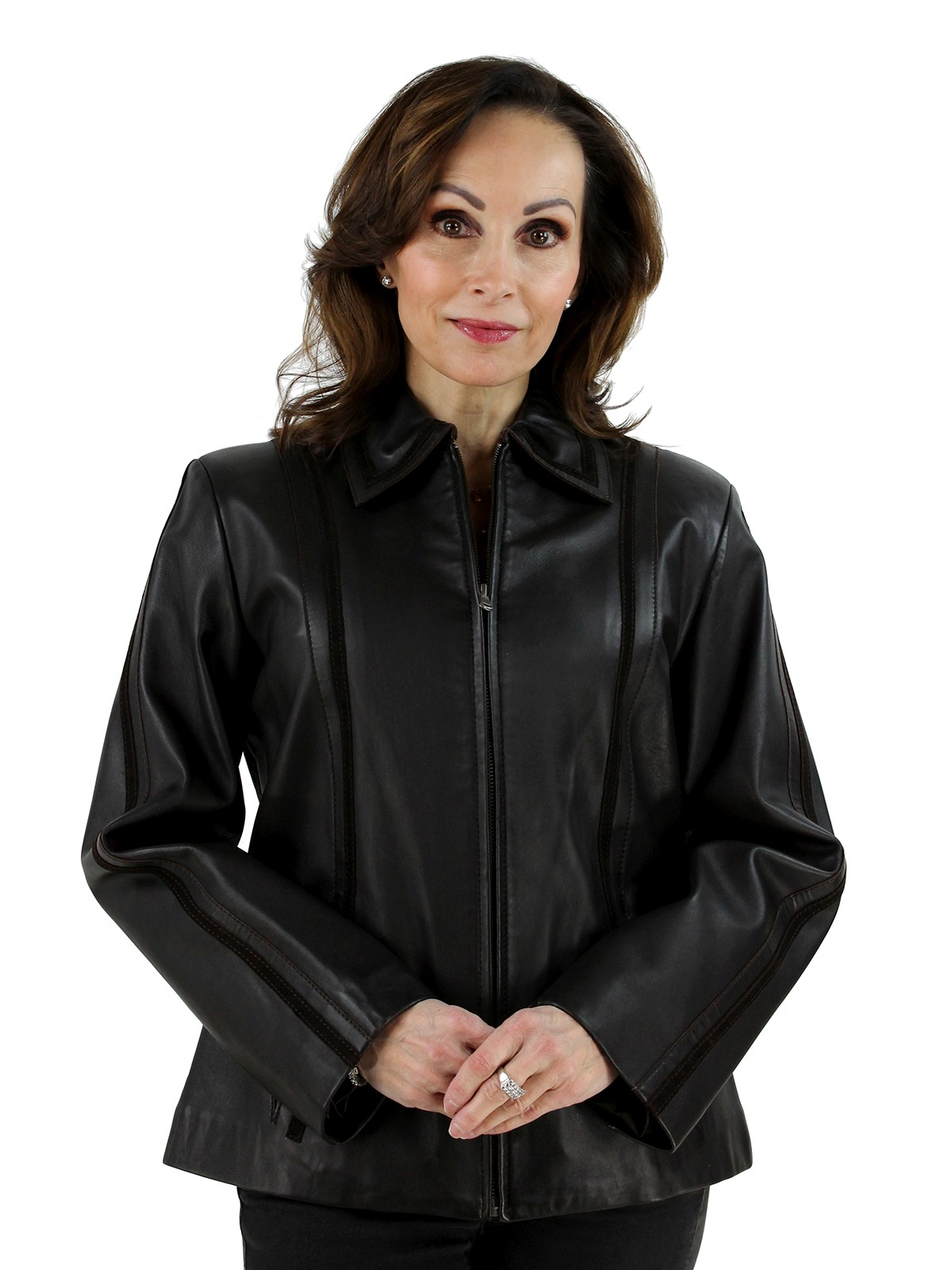 Woman's Brown Leather Jacket with Suede Trim