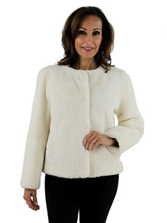 Gorski Woman's White Punched Sheared Beaver Fur Jacket