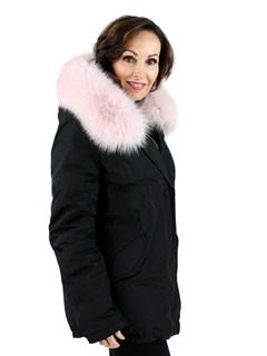 Gorski Woman's  Black Apres-Fabric Ski Jacket with Pink Fox Trimmed Hood