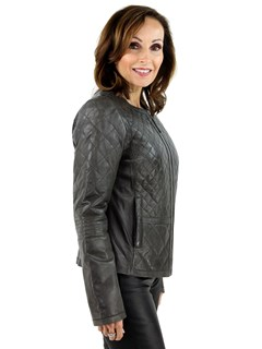 Women's Grey Leather Zipper Jacket