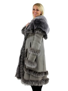 Woman's Grey Hooded Shearling Lamb Stroller with Fox Fur Trim