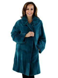 Woman's Teal Sheared Mink Fur Stroller