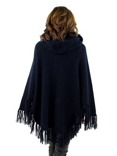 Women's Navy Wool Knit Hooded Poncho Jacket with Fox Fur Trim