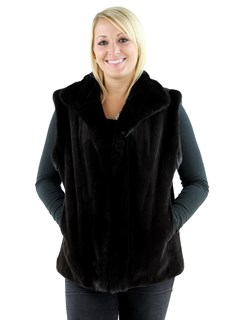 Woman's Brown Sheared Mink Fur Vest with Traditional Mink Trim