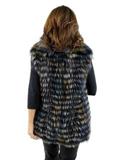 Woman's Multi Colored Silver Fox Fur Vest