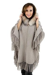 Women's Beige Knit Wool Hooded Poncho Jacket with Fox Fur Trim