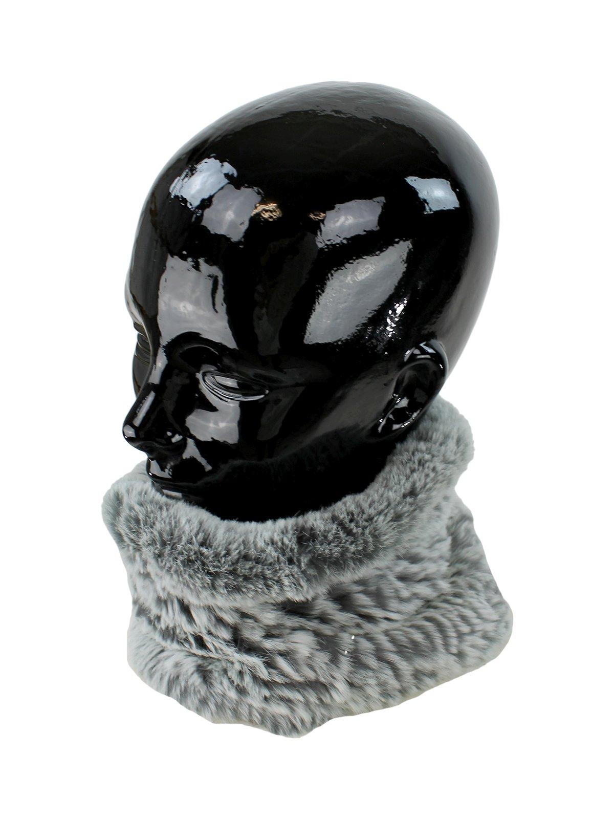Woman's Grey Frost Stretch Knit Rex Rabbit Fur Neck Warmer