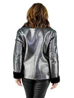 Woman's Metallic and Black Shearling Lamb Jacket