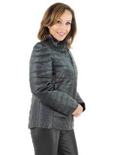 Women's Black Lash Leather Zipper Jacket