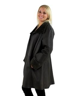 Woman's Khaki and Grey Shearling Lamb Stroller