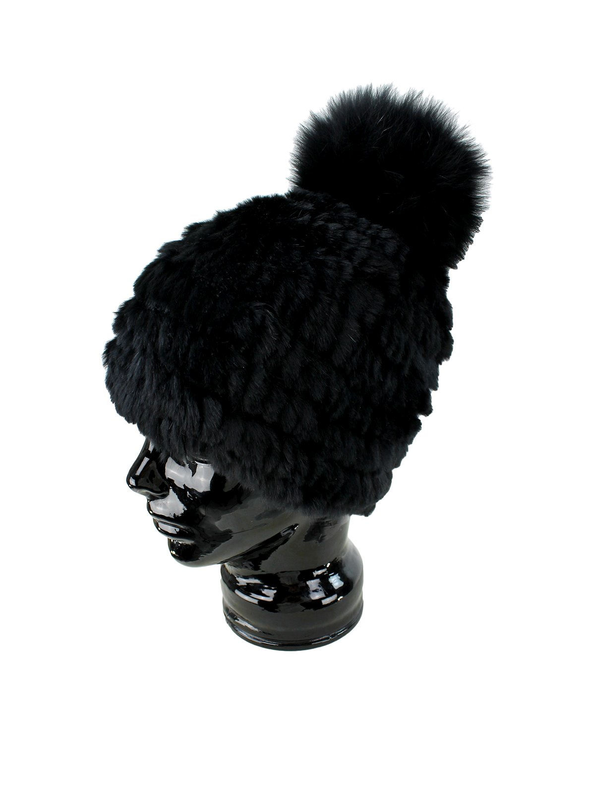 Woman's Black Knit Rex Rabbit Fur Hat with Black Fox Pom Pom