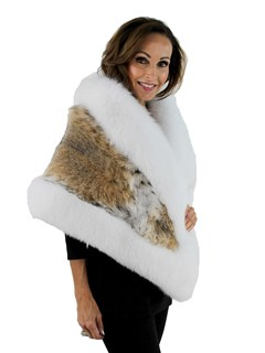 Woman's Natural Lynx Fur Stole with White Fox Trim