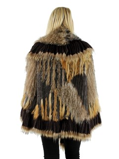 Woman's Brown Multi Color Woven Fur  Jacket