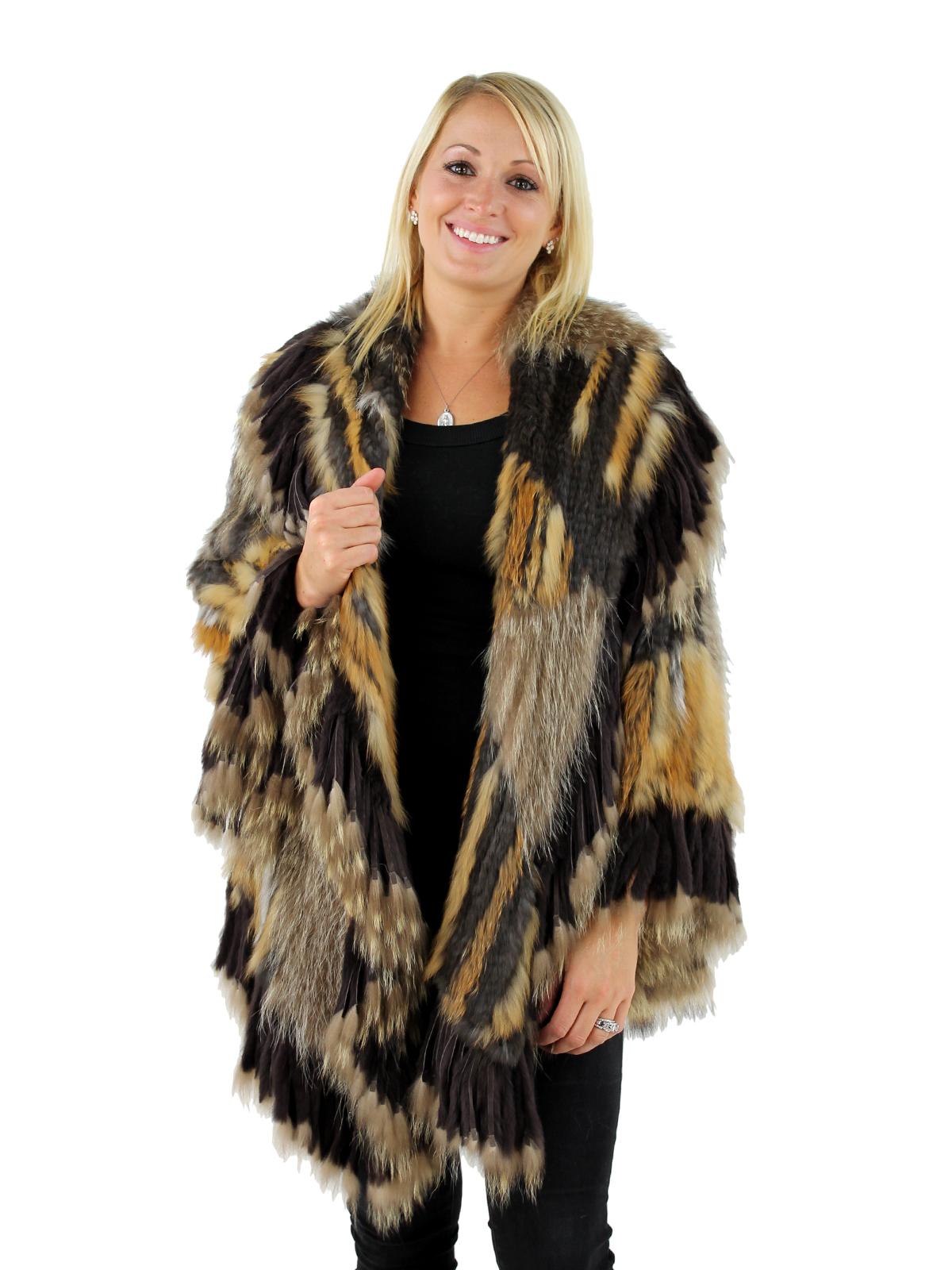 Woman's Brown Multi Color Woven Fur  Jacket