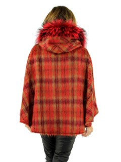 Women's Red Plaid Hooded Alpaca Wool Cape with Fox Fur Trim