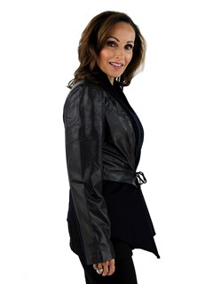DiOMi Woman's Navy Leather and Cashmere Jacket