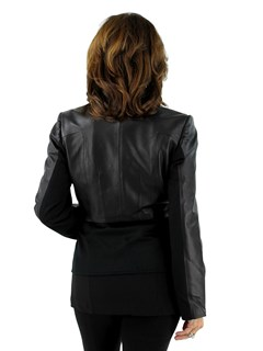 DiOMi Woman's Black Leather and Cashmere Jacket