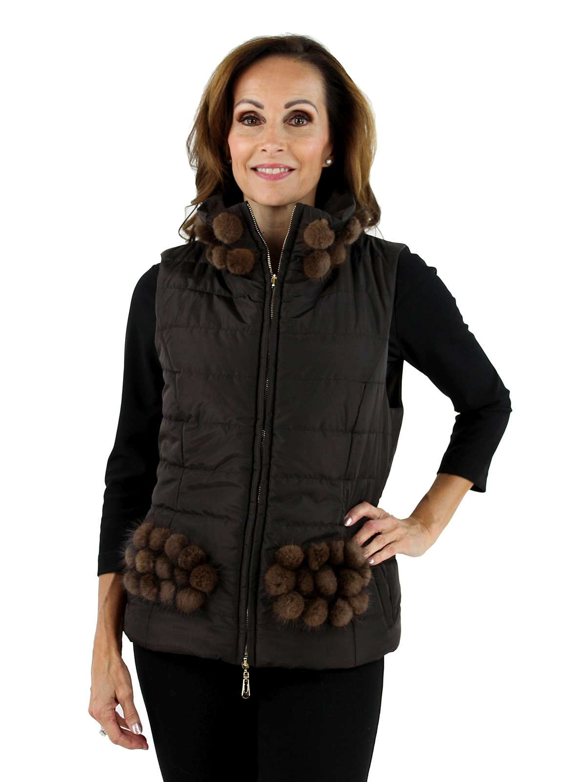DiOMi Woman's Brown Fabric and Mink Fur Vest